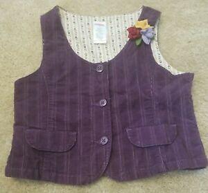 Gymboree - Girls' Kids Purple Button Up Vest - Floral Accents - Size 5