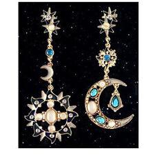Creative Delicated Charm Crystal Resin Star + Sun Moon Pierced Earring Ear Stud