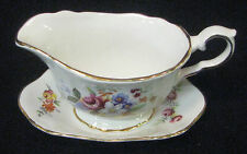 4oz Old Foley mini creamer and under plate pink, white, purple &orange flowers