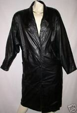 TRENCH BLACK  LEATHER JACKET COAT VINTAGE wilsons