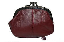 COIN PURSE DOUBLE FRAME WITH ZIPPER POCKET NEW MAROON