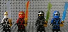 LEGO NINJAGO 4 MINIFIGS KIMONO KAI JAY COLE ZANE W/ ELEMENTAL BLADES, 2013, NEW
