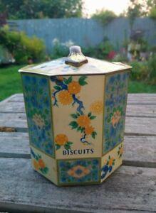 Vintage Octagonal Baret Ware Tin Metal Oriental Biscuit Barrel / Box