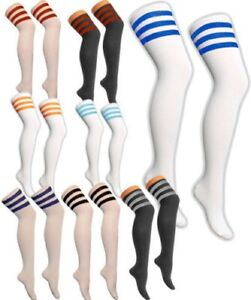 3 STRIPES REFEREE SOCKS GIRLS LADIES STRIPED OVER THE KNEE THIGH HIGH LONG SOCKS