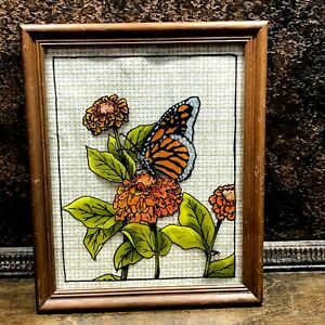 Vintage Elyse Alumin Reverse Butterfly Painting on Glass Framed / Hand Painted
