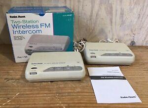Radio Shack 2 Station Wireless Intercom Hands Free Plug & Talk ~ 43-227