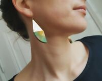 Artist Handpainted Modernist Wood Brass Dangle Earrings Multi-color OOAK Germany