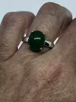 Vintage Green Jade Ring White Gold Finish Size 7