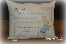 HANDMADE CUSHION ~ PETER RABBIT ~ A VERY TIRED RABBIT INDEED