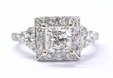 Neil Lane Princess & Round Cut Diamond White Gold Engagement Ring 1.27Ct H-SI1 1