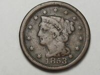 1853 US Braided Hair Large Cent Coin.  #33
