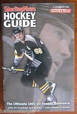 """2002-03 """"Sporting News Hockey Guide"""" STATS: Cover: Mario Lemieux Penguins    ."""
