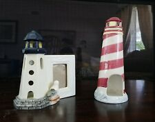 2PC  PREOWNED CERAMIC LIGHTHOUSES 1 WITH PICTURE FRAME