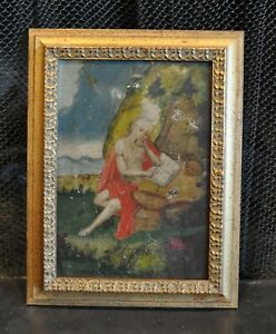 Antique Retablo Painting - Oil on Tin - Saint Jerome - Guatemala Folk Art 1800s