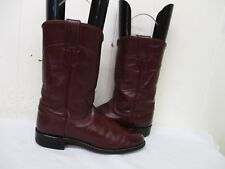 JUSTIN Burgundy Leather Roper Cowboy Boots Size 6.5 A Style L3068 USA