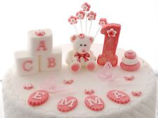 Personalised Edible TEDDY BEAR Pink set Birthday Handmade Sugarpaste Cake topper
