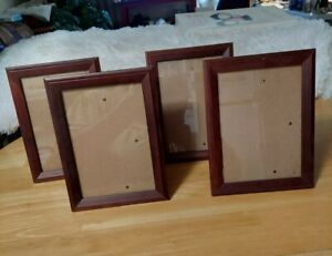 4-Piece Picture Frames, Easel Back & Wall Mount ,5x7 Glass Photo Wood Frames New