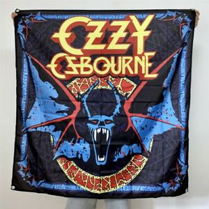 Ozzy Osbourne Banner Bat Logo Tapestry No More Tours Flag Fabric Poster 4x4 ft