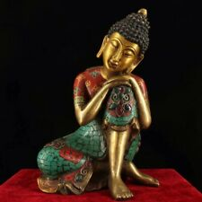 Chinese Antique Tibetan Buddhism old copper hand-set gemstone sleeping Buddha
