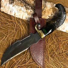 SFK CUTLERY RARE CUSTOM HANDMADE DAMASCUS ART HUNTING BOWIE KNIFE RAM'S HORN