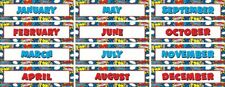 TCR 5590 Superhero Months of the Year Calendar Headers Classroom Decorations