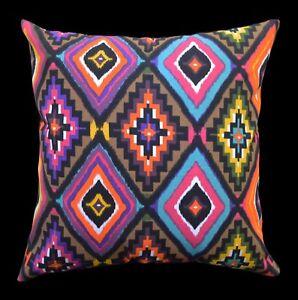 AL251a Brown Yellow Turquoise Blue Orange Geometric Cotton Canvas Cushion Cover
