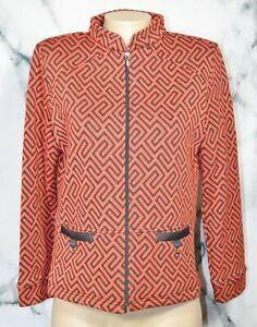 RAFAEL SPORT Red Black Patterned Zipfront Knit Jacket Blazer Medium Long Sleeves