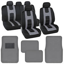 "Seat Cover for Car ""Rome Sport"" Racing Style Stripes Black/Gray w/ Carpet Mats"