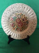 WADE ENGLAND POTTERY ROYAL VICTORIA PLATE GOLD CHINTZ LACE FLOWERS AT THE CENTER