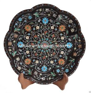 "12"" Black Marble Belgium Decorative Plate Pietra Dura High Quality Work Handmade"