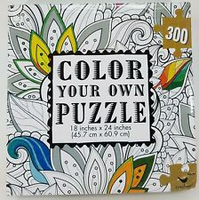 "Floral Color Your Own Puzzle - Cardinal - 18"" x 24"" New  - Dented Corner"