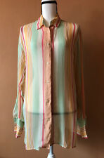 b9a18eefd9230 Oscar De La Renta Multicolor 100% Silk Button Down Tunic Blouse Top Size 8