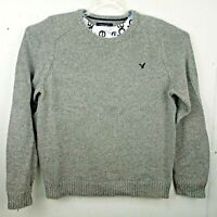 American Eagle Mens XL Athletic Fit Sweater Gray Crewneck Long Sleeve Elbow Pads