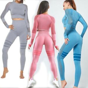 Women's Yoga Workout Outfit 2 Piece Set Seamless High Waisted Leggings Crop Tops