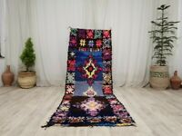 "Vintage Moroccan Handmade Rug 2'9""x8'1"" Berber Geometric Blue Shades Wool Carpet"