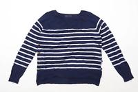 Marks & Spencer Womens Size M Striped Cotton Blend Blue Long Sleeve T-Shirt (Reg