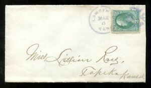 p292 - LAWRENCE Kansas Fancy Cancel (in Violet) on Cover to Topeka