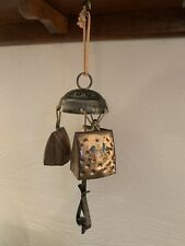 Copper Cowbell Wind Chime with Steel Hanger and Wood Clapper Vintage Switze