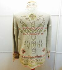 BNWT WAREHOUSE BEIGE NEON NAVAJO AZTEC TRIBAL PRINT CARDIGAN COATIGAN 6 8 S