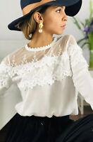 Women Designer White Lace Lg Slv Blouse fits Size L or a UK Size 14