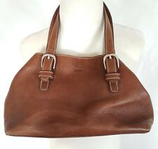 Rare ROOTS Leather Handbag Chestnut Brown Vtg Small Purse Canadian Made Pebbled