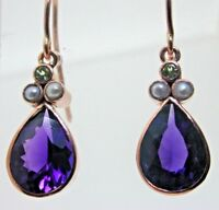 Stunning Suffragette Amethyst Pearl and Peridot Dangle Earrings 9 ct Rose Gold