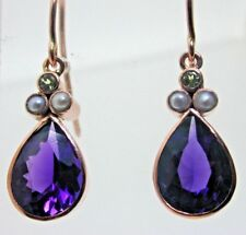 Suffragette Amethyst Pearl and Peridot Drop Earrings 9 ct Rose Gold