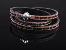 G21 HUMANITY  INSPIRING PHRASES 3-Wraps Distressed Leather Bracelet Cuff Black