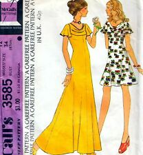 """Vintage 70s FLARED DRESS Sewing Pattern Bust 34"""" 87 cm Sz 10 RETRO Maxi EVENING"""