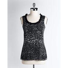 NWT T Tahari Mila Blouse in Black Leopard Print Chiffon Sleeveless Top 3X
