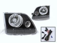 FOR 97-02 FORD F 150 EXPEDITION HEADLIGHTS BLACK CLEAR PROJECTOR FOG LAMPS PAIR