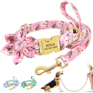 Personalised Dog Collar and Lead Set Floral Nylon Collar & Name Engraved Buckle