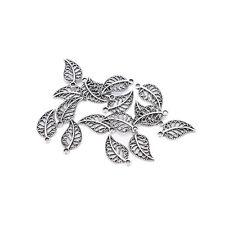 50 Assorted Leaves Tibetan Silver Alloy Charm Pendants DIY Jewelry Finding TN