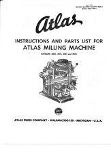 1954 Atlas  Instruction & Parts Milling Machine MFC, MIC & MHC  Instructions